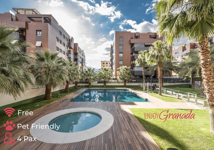 EnjoyGranada ❤ EMIR 3F - POOL GYM & Free Parking