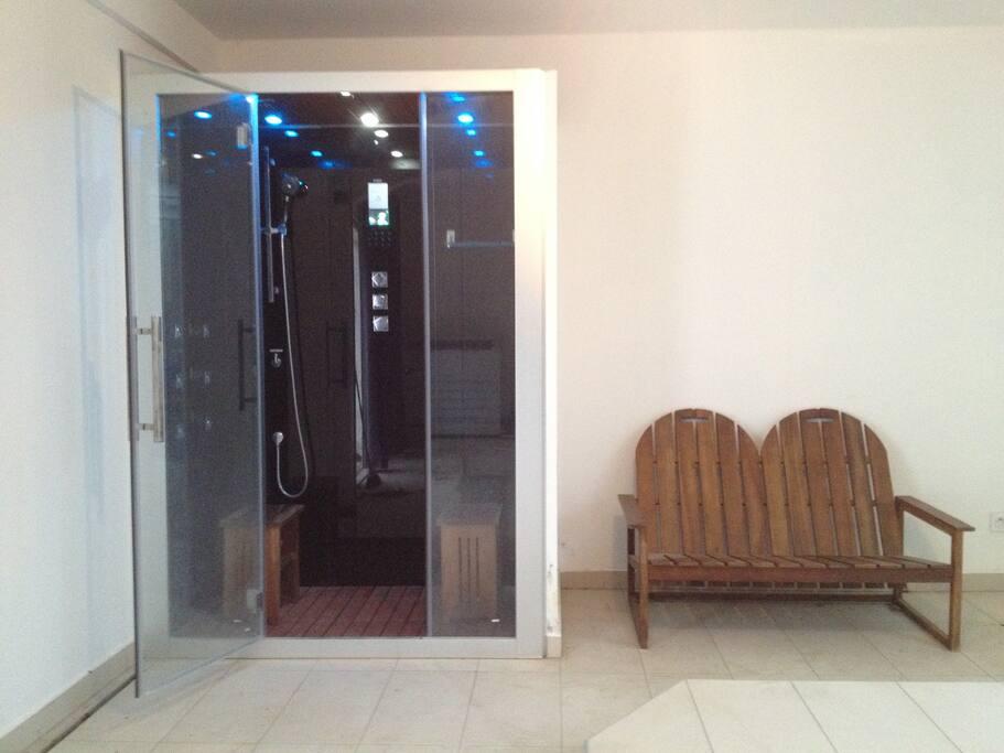 cabine de douche 2 places avec hammam et radio