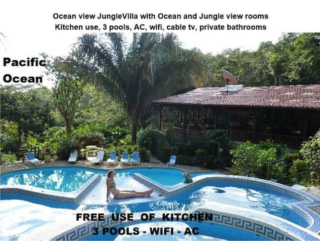 JungleVilla Rm2, Max.5p, 3 Pools, Kitchen use, AC