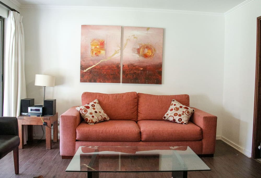 living room with a comfy two seat sofa