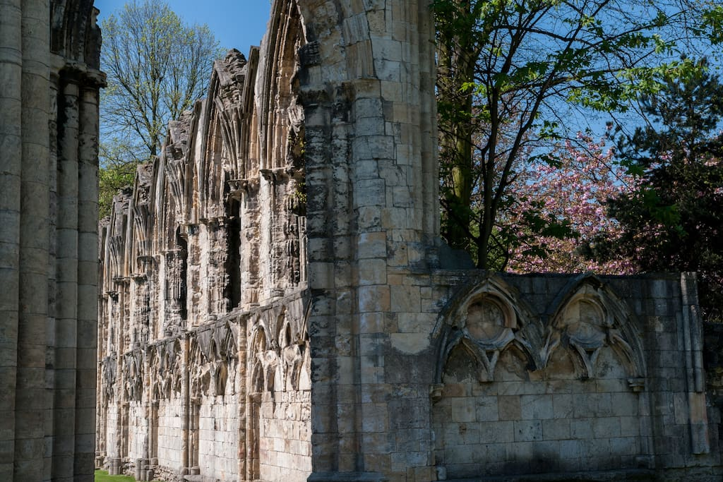 A 3 minute walk away, take in the faded splendour of St-Mary's Abbey.