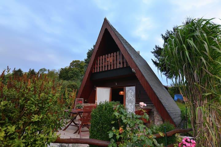 Romántica e independiente Finnhütte (techo hasta suelo) en el bosque de Turingia con estufa a leña