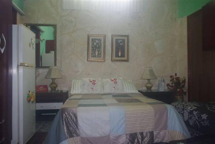 Una habitacion con todas sus nesecidades y mas.
