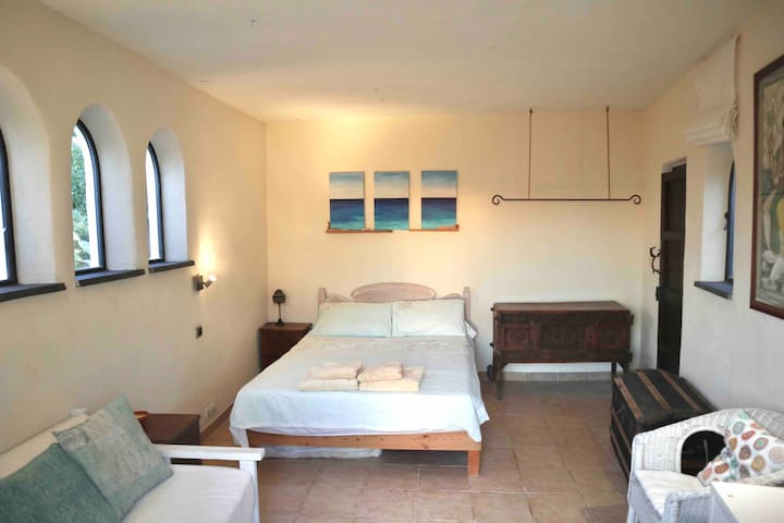 Comfortable studio with double bed , desk and sofa. Kitchenette and bathroom separate.