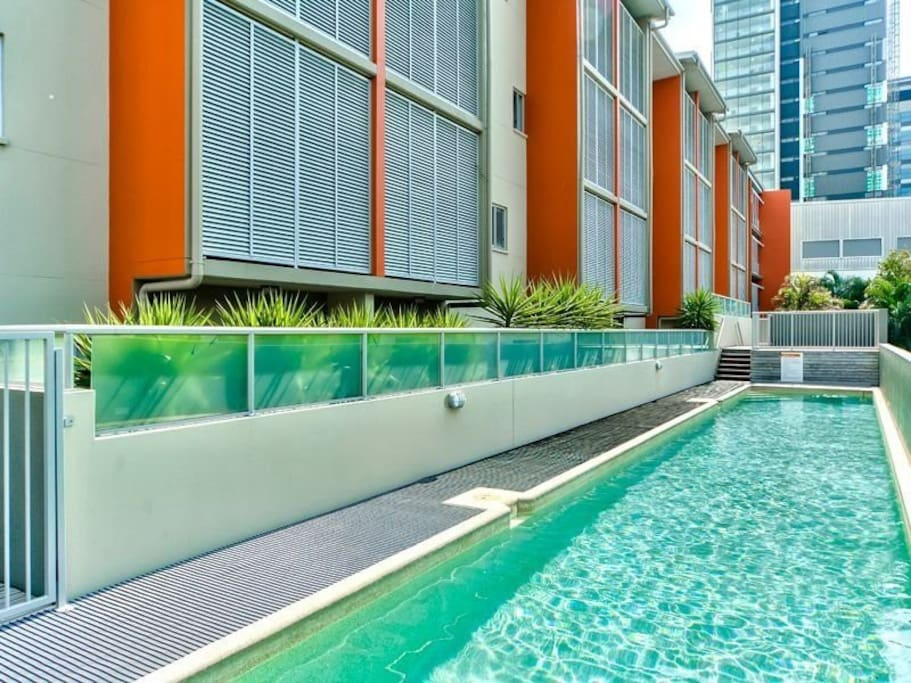 Lap pool with sundeck