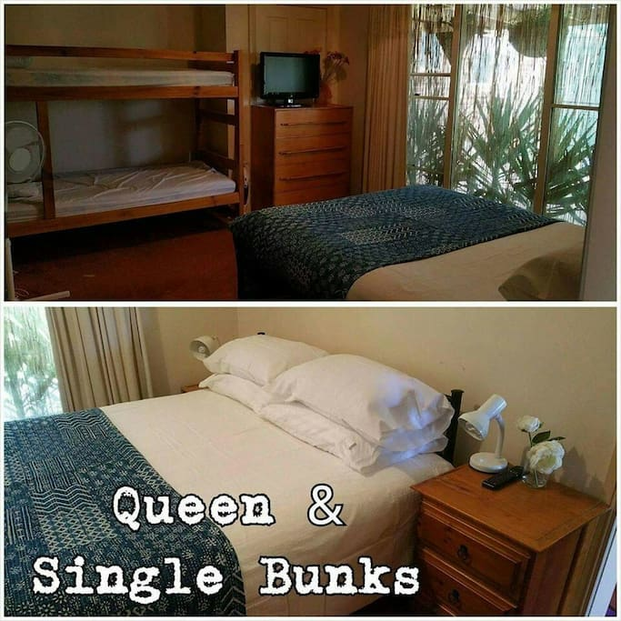 Queen bed and set single bunks
