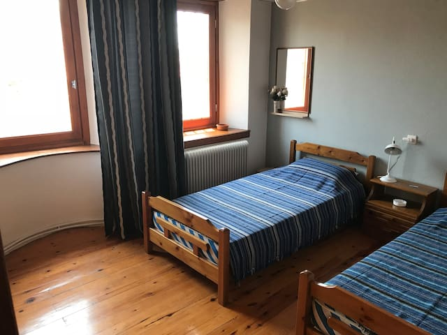 Room 2 at 2nd floor with 2 single beds, shared WC