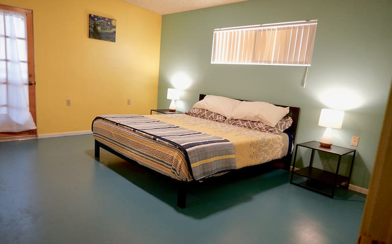 Newly remodeled bedroom. Hypoallergenic concrete flooring.