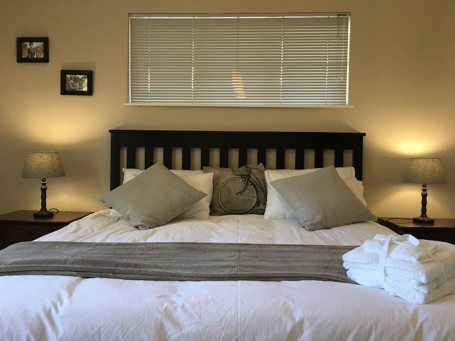 Primary bedroom with King size bed.