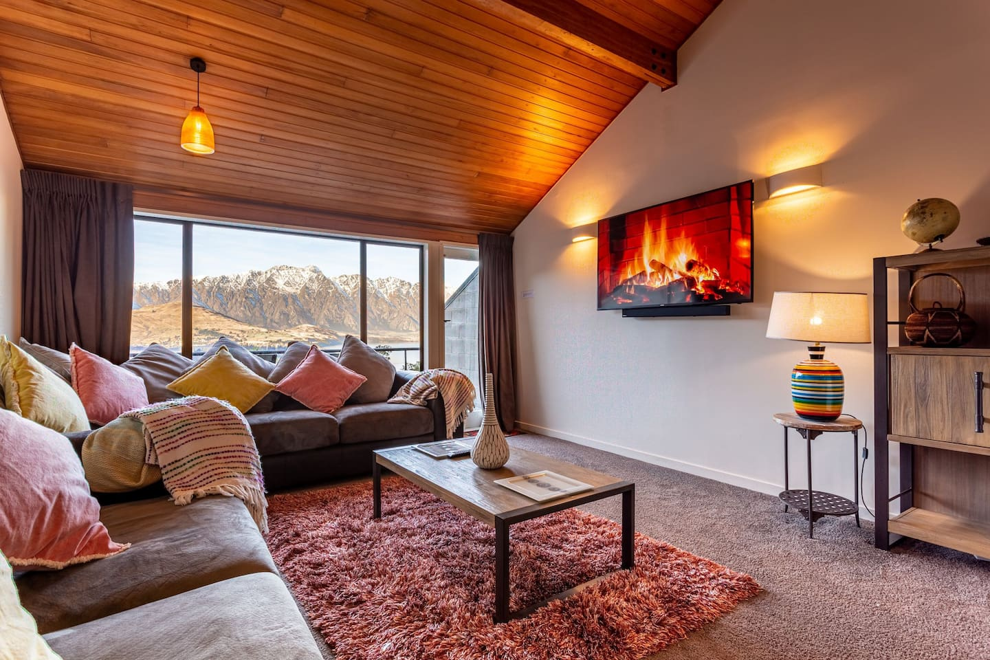 Incredible lake and mountain views.  Warm opulent lounge furnishings.