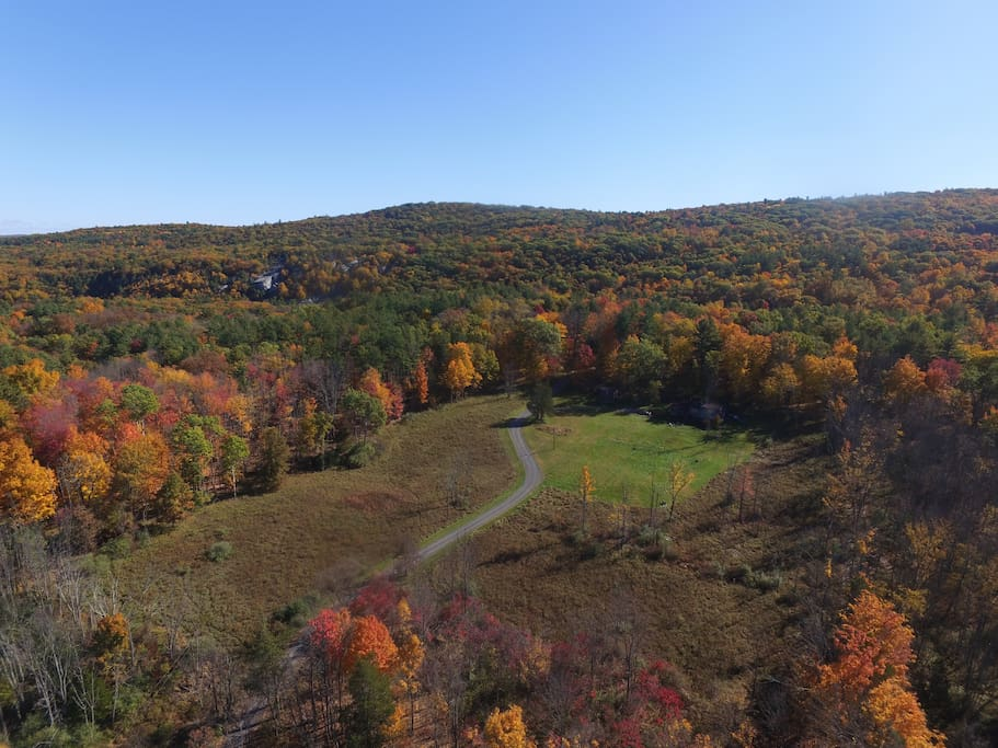 11 Acres of heaven.   You will see the Table Rock climbing formation in the upper left corner of the photo, part of the Mohonk Preserve.   Foliage October 23, 2015