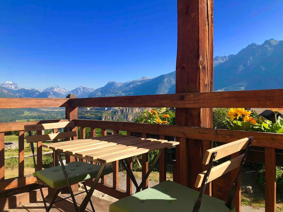 Terrace with stunning view over the Ecrins massif and UNESCO World Heritage Site Mont Dauphin