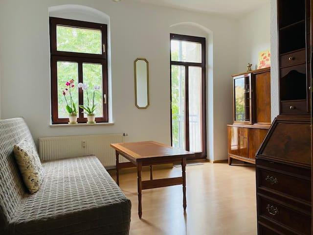 Zimmer mit Balkon. Sofa ist auf 140x200 ausklappbar.