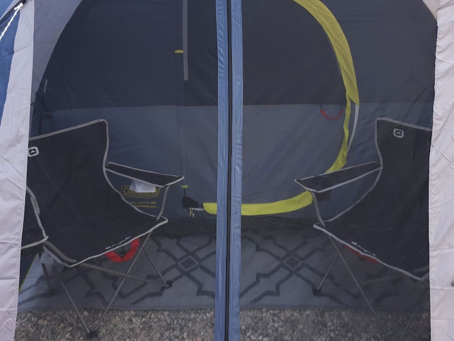 two camping chairs in the net