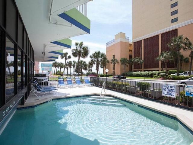 Indoor/outdoor pool is heated.