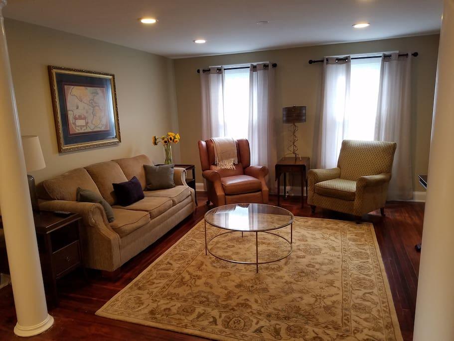 Spacious living room with new sofa sleeper