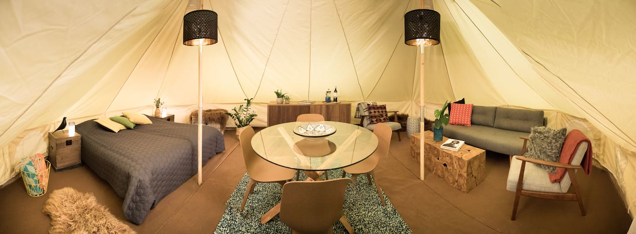 Glamping in deluxe family tent with lake view