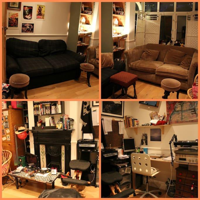 Living room and studio corner