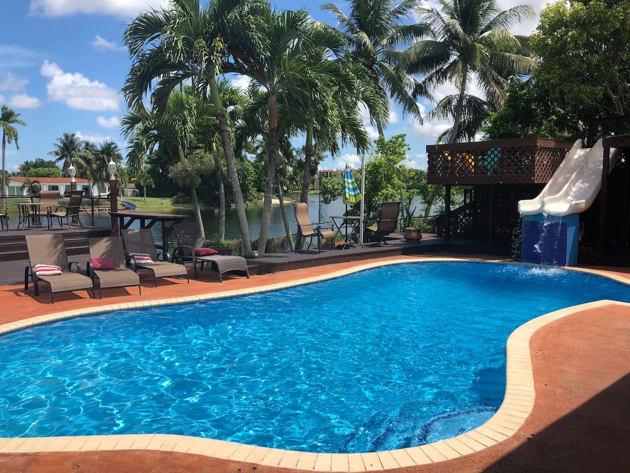 Pool, Water Slide, Sunbeds