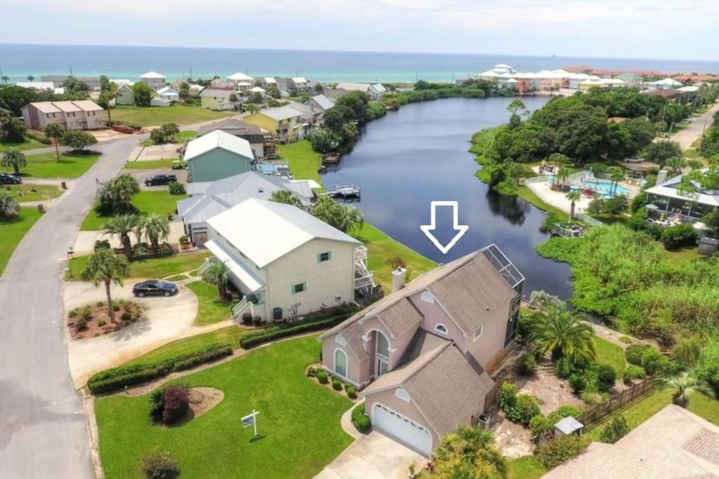 Aerial view of house, lake and ocean!