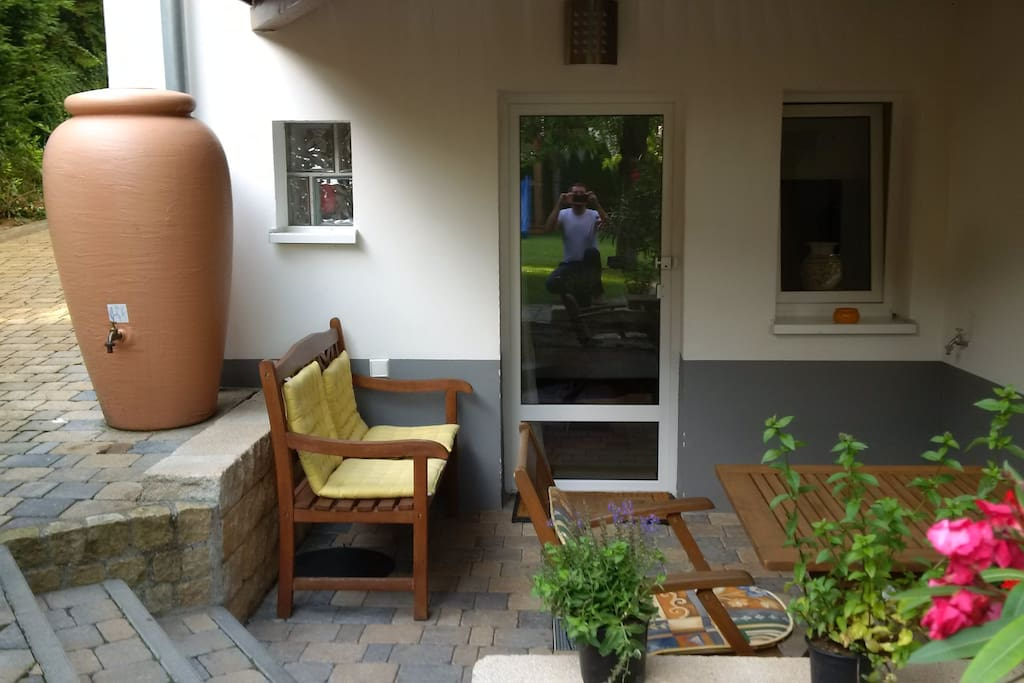 Entrance of apartment with small private terrace