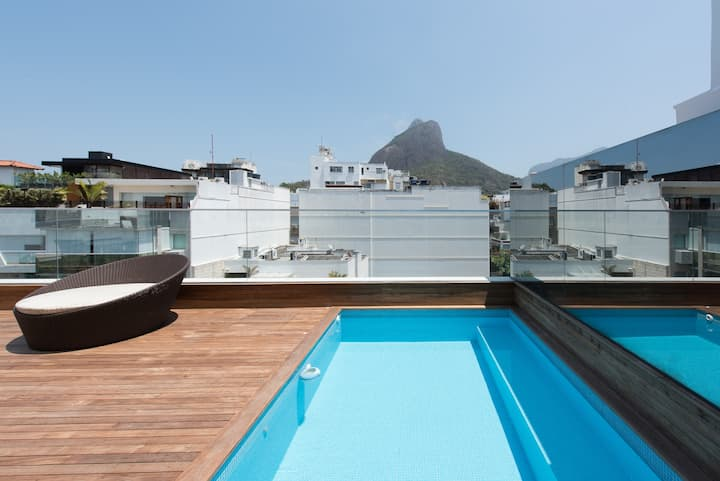 Penthouse with Private Pool half block from beach