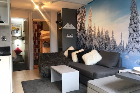 Chic boutique ski in ski out apartment
