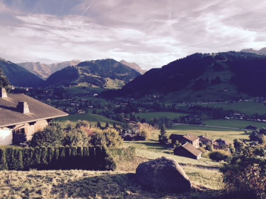magnificent south facing view overlooking Gstaad