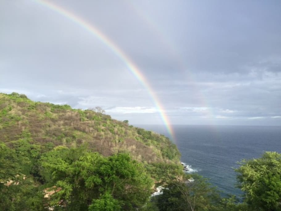A beautiful double rainbow view from the porch.
