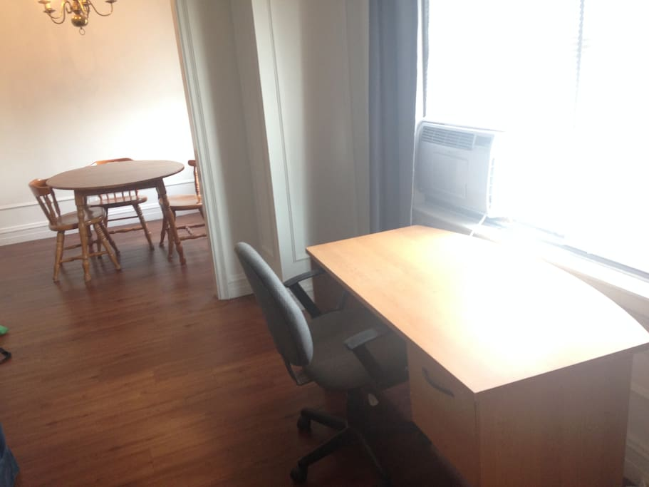 Desk and dining room