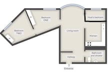 This floor plan shows the layout of the apartment. Notice the two bedrooms that are available as separate ads here on Airbnb. You can book both rooms if you're a bigger group of friends or family or just book one of the rooms.  This ad is for bedroom ONE.  I hope you see the two rooms as an exciting opportunity to meet likeminded people from all over the world, as I do. And the best part is that you already know you have interests in common like traveling, Sweden and Stockholm :) Only book this room if you feel this way.