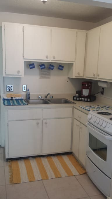 Efficient Kitchen. Keurig coffee maker and cups included.