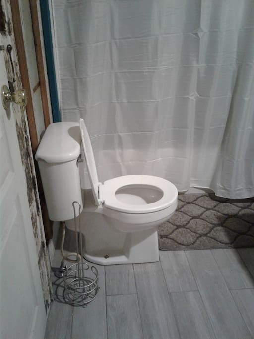 New bathroom with exposed barged board walls and new toilet, tub, and vanity.