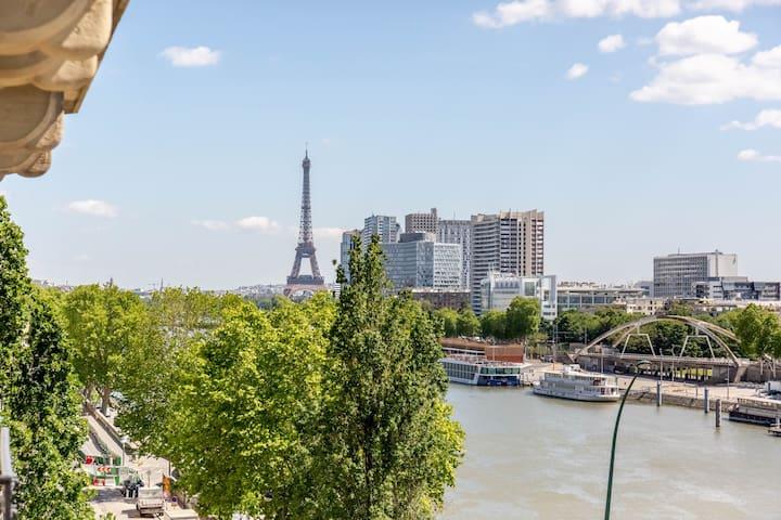 Vue tour Eiffel et Seine, sans vis à vis