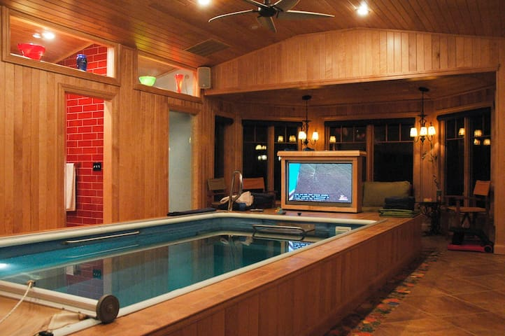 The indoor Endless Pool. Note that this TV isn't currently working.