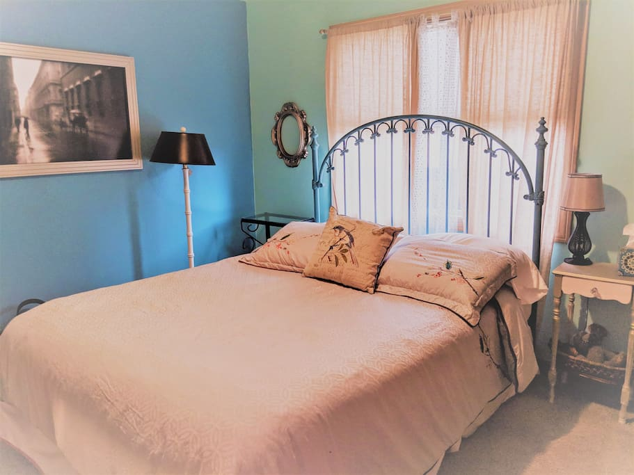 Blue Room with large closet, cable television