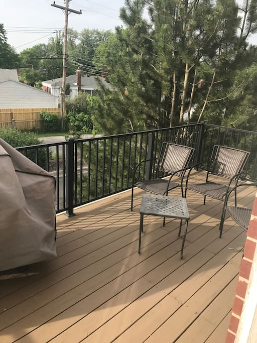 Balcony with grill, have extra chairs if needed