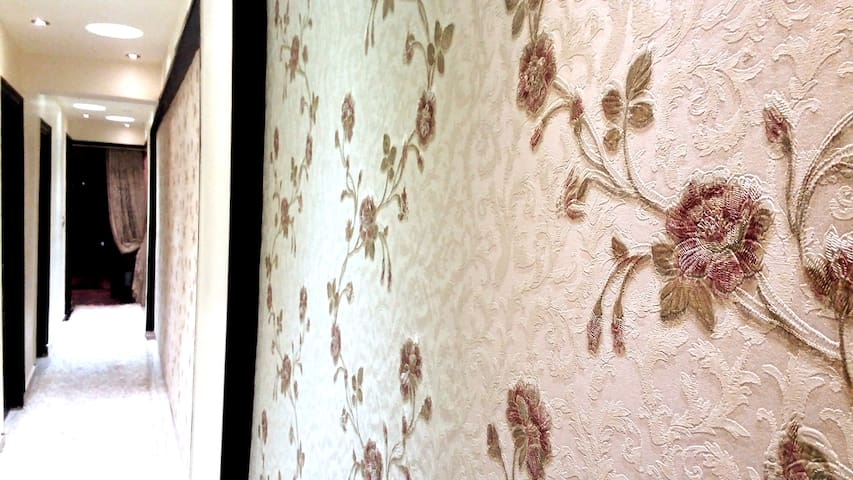 * 3D Rose Wallpaper   * Long passage To all Rooms   * Wood Decoration