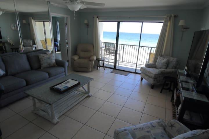 2BR/2BA Gulf-front Sleep 9; Pool on Beach; 302