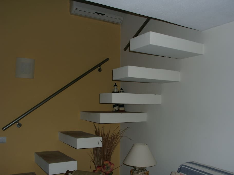 Stairs leading to the bedroom