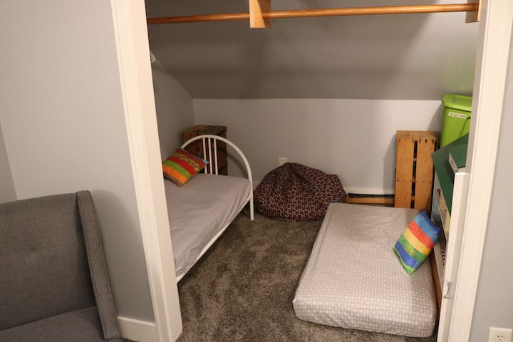 Two toddler beds in a cozy space,  just for kids!