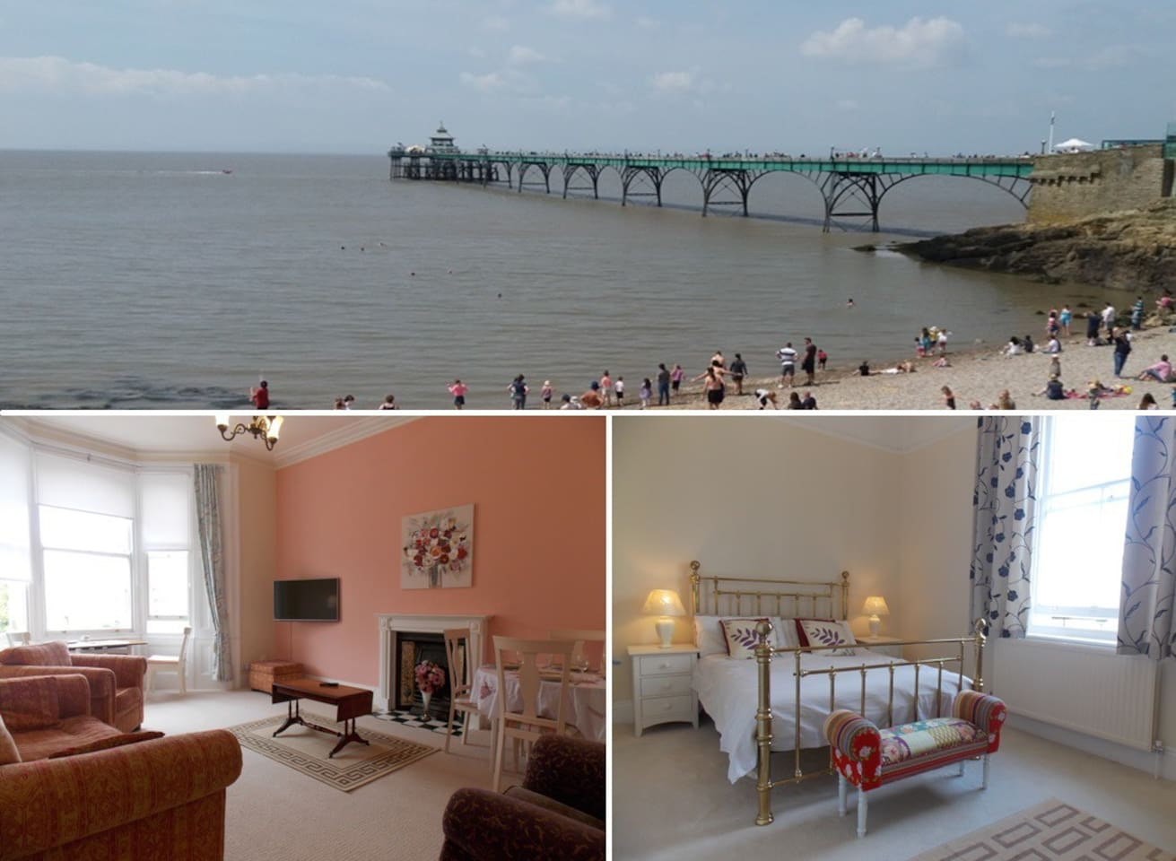 Enjoy Clevedon's beautiful seaside and Victorian Pier from a lovely Victorian apartment