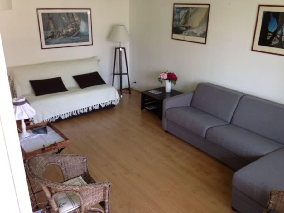 Salon avec 2 canapés lits