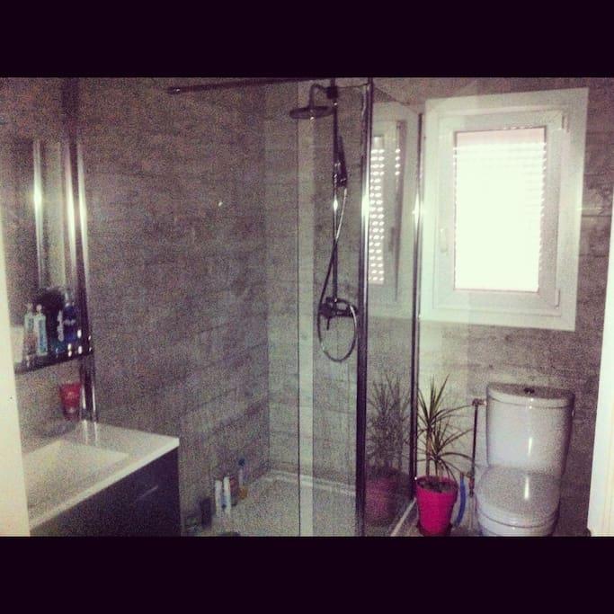Une salle de bain avec une grande douche et toilettes est réservée aux locataires.
