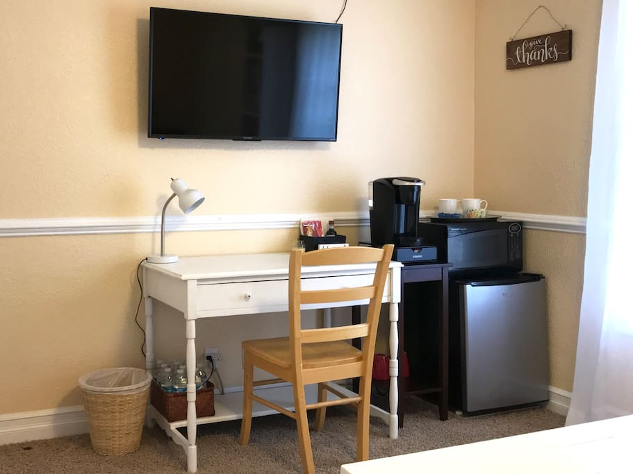Your Own Fridge and Microwave plus Coffee Nook and Place to Work.