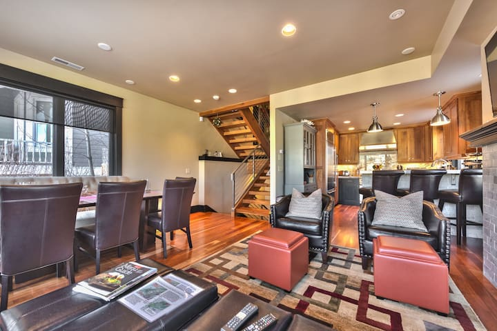 Great Room - Level 3 - with Living Room, Dining Area and Kitchen with Beautiful Hardwood Floors Throughout