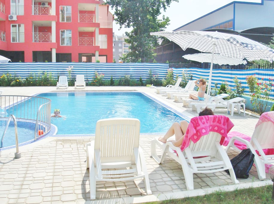 Chill by the pool with friends and family at Violet Garden, Sunny Beach