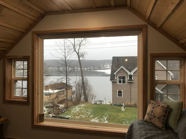 Beautiful view of waneta lake from this large picture window!