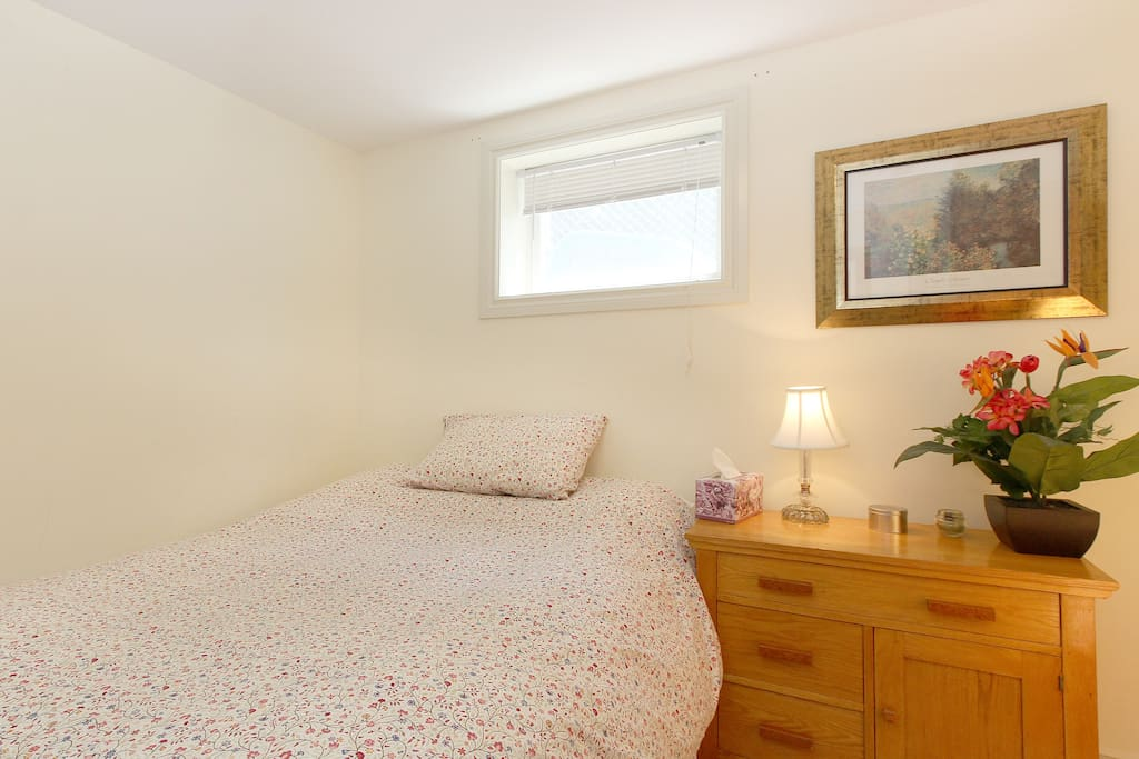 Bedroom 3 has nice morning light, a dresser, armoir and lots of extra bedding for your comfort.