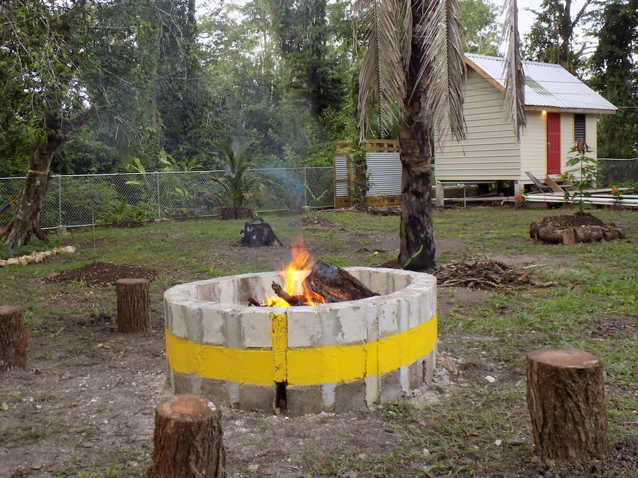 Bonfire and BBQ with seating